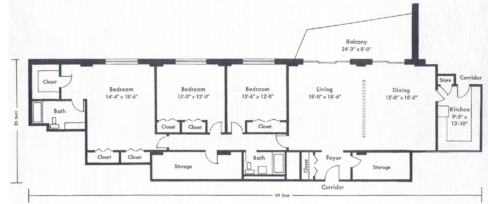3 Bedroom East Floor Plan